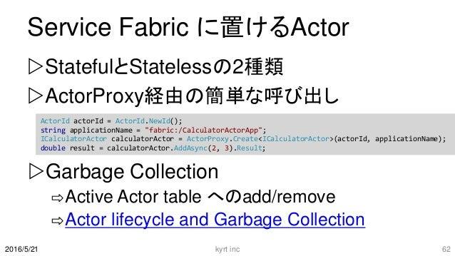 Service Fabric に置けるActor StatefulとStatelessの2種類 ActorProxy経由の簡単な呼び出し kyrt inc 622016/5/21 ActorId actorId = ActorId.NewI...
