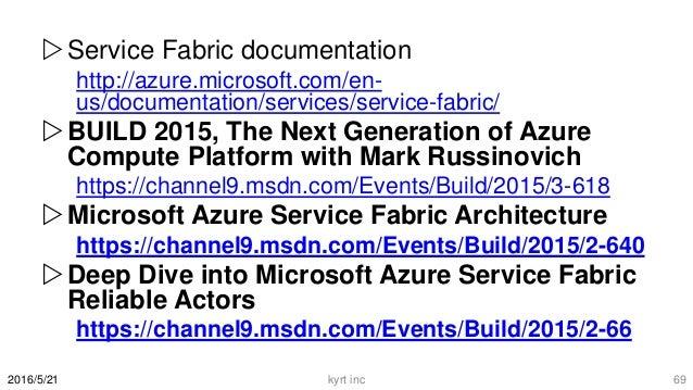 Service Fabric documentation http://azure.microsoft.com/en- us/documentation/services/service-fabric/ BUILD 2015, The Ne...