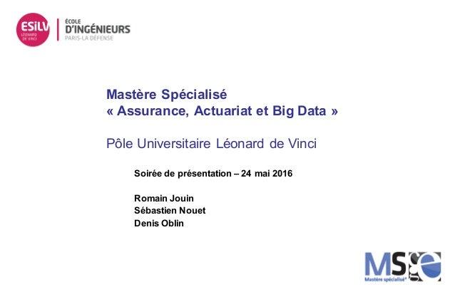 Mastère Spécialisé « Assurance, Actuariat et Big Data » Pôle Universitaire Léonard de Vinci Soirée de présentation – 24 ma...