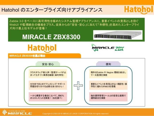 Copyright © 2000-2016 MIRACLE LINUX CORPORATION All rights reserved Hatohol のエンタープライズ向けアプライアンス Zabbix 3.0 をベースに高可用性を極めたシステ...