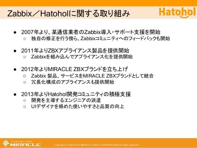 Zabbix/Hatoholに関する取り組み Copyright © 2000-2016 MIRACLE LINUX CORPORATION All rights reserved ● 2007年より、某通信業者のZabbix導入・サポート支...