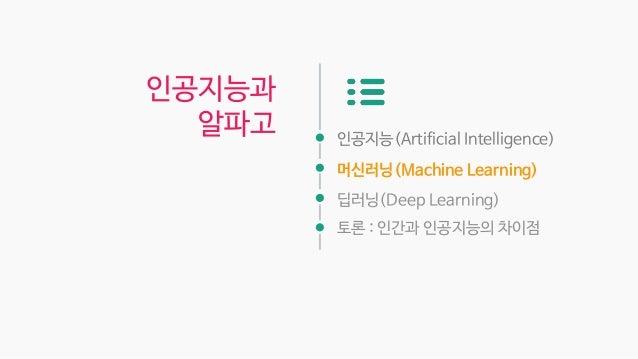 인공지능(Artificial Intelligence) 머신러닝(Machine Learning) 딥러닝(Deep Learning) 토론 : 인간과 인공지능의 차이점 인공지능과 알파고