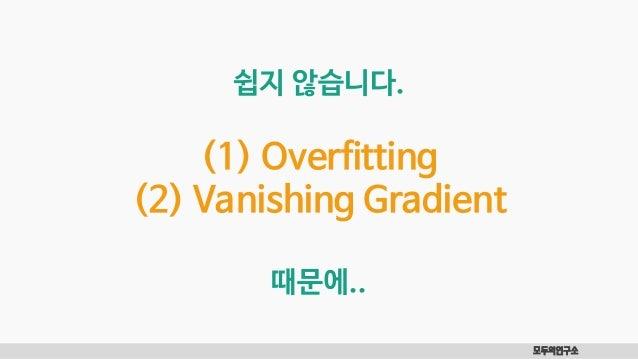 모두의연구소 쉽지 않습니다. (1) Overfitting (2) Vanishing Gradient 때문에..