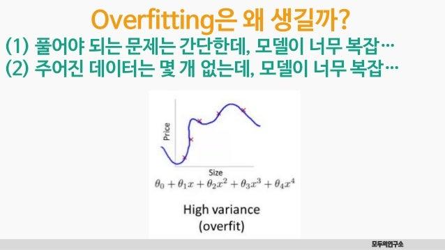 모두의연구소 Overfitting은 왜 생길까? (1) 풀어야 되는 문제는 간단한데, 모델이 너무 복잡… (2) 주어진 데이터는 몇 개 없는데, 모델이 너무 복잡…