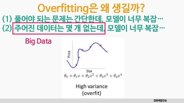 모두의연구소 Overfitting은 왜 생길까? (1) 풀어야 되는 문제는 간단한데, 모델이 너무 복잡… (2) 주어진 데이터는 몇 개 없는데, 모델이 너무 복잡… Big Data