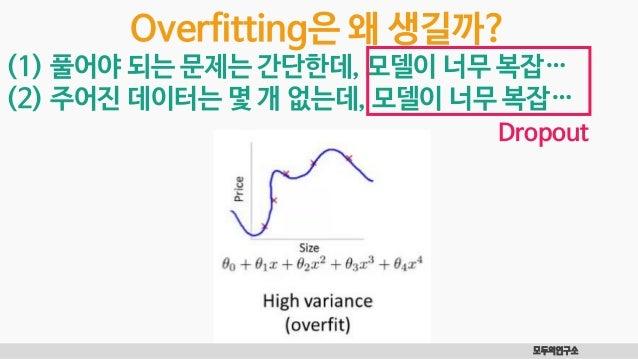모두의연구소 Overfitting은 왜 생길까? (1) 풀어야 되는 문제는 간단한데, 모델이 너무 복잡… (2) 주어진 데이터는 몇 개 없는데, 모델이 너무 복잡… Dropout