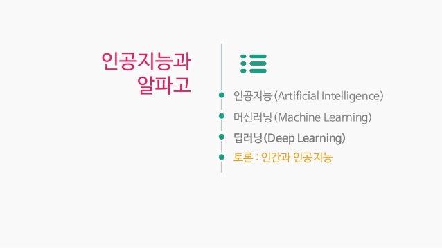 인공지능(Artificial Intelligence) 머신러닝(Machine Learning) 딥러닝(Deep Learning) 토론 : 인간과 인공지능 인공지능과 알파고