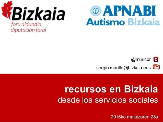 recursos en Bizkaia desde los servicios sociales 2016ko maiatzaren 28a @muricor sergio.murillo@bizkaia.eus