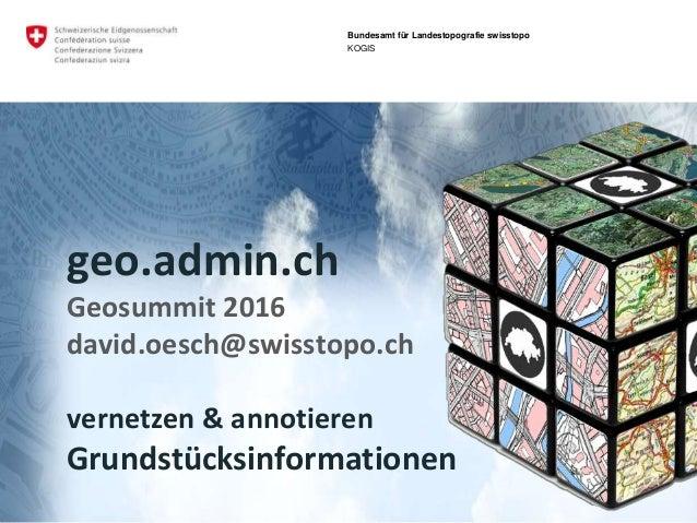 geo.admin.ch: das Geoportal des BundesGeosummit 2016 - Grundstücksinformationen Bundesamt für Landestopografie swisstopo K...