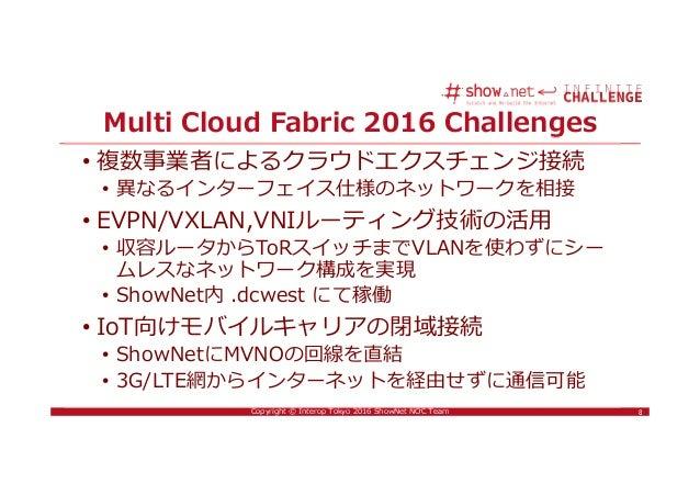 8Copyright © Interop Tokyo 2016 ShowNet NOC Team Multi Cloud Fabric 2016 Challenges • 複数事業者によるクラウドエクスチェンジ接続 • 異なるインターフェイス仕...