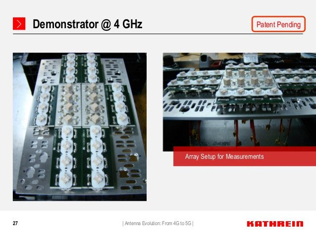 27 Demonstrator @ 4 GHz Array Setup for Measurements   Antenna Evolution: From 4G to 5G   Patent Pending