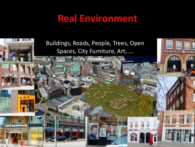 Real Environment Buildings, Roads, People, Trees, Open Spaces, City Furniture, Art, ...