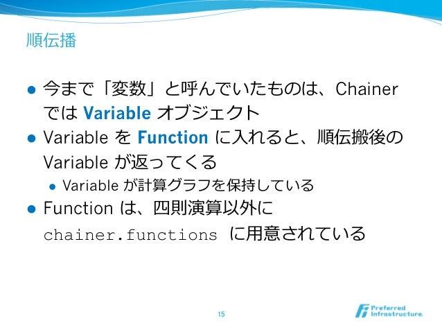順伝播 l 今まで「変数」と呼んでいたものは、Chainer では Variable オブジェクト l Variable を Function に⼊れると、順伝搬後の Variable が返ってくる l Variable が計算グラフを保...