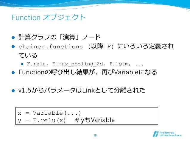 Function オブジェクト l 計算グラフの「演算」ノード l chainer.functions (以降 F) にいろいろ定義され ている l F.relu, F.max_pooling_2d, F.lstm, ... l Fun...