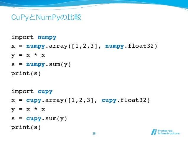 CuPyとNumPyの⽐較 import numpy x = numpy.array([1,2,3], numpy.float32) y = x * x s = numpy.sum(y) print(s) import cupy x = cup...