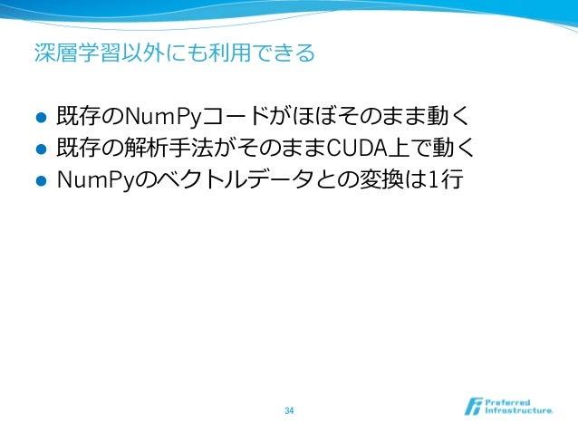 深層学習以外にも利⽤できる l 既存のNumPyコードがほぼそのまま動く l 既存の解析⼿法がそのままCUDA上で動く l NumPyのベクトルデータとの変換は1⾏ 34