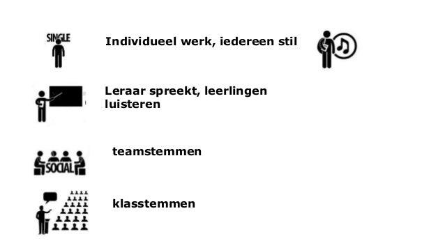 Individueel werk, iedereen stil Leraar spreekt, leerlingen luisteren teamstemmen klasstemmen