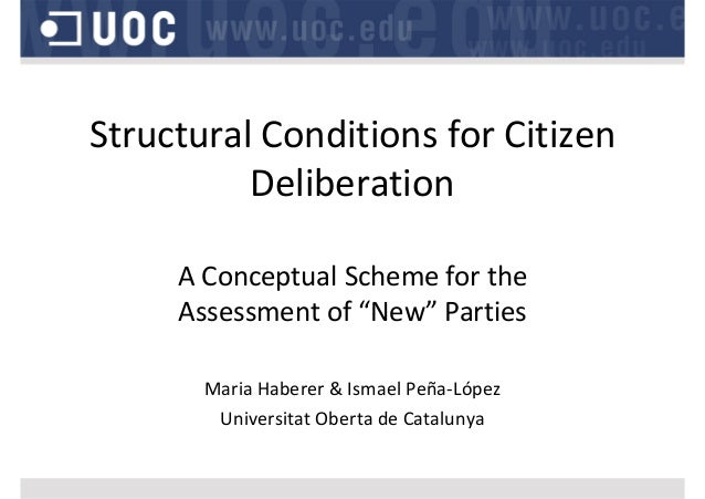 "Structural Conditions for Citizen  Deliberation A Conceptual Scheme for the  Assessment of ""New"" Parties Maria Haberer & I..."