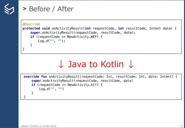 Copyright © 2014 Sansan, Inc. All rights reserved. > Before / After 25 ↓ Java to Kotlin ↓