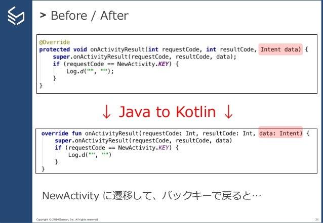 Copyright © 2014 Sansan, Inc. All rights reserved. > Before / After 26 ↓ Java to Kotlin ↓ NewActivity に遷移して、バックキーで戻ると…