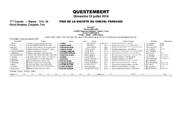 QUESTEMBERT Dimanche 10 juillet 2016 1ère Course – Départ : 14 h. 30 PRIX DE LA SOCIETE DU CHEVAL FRANCAIS Paris Simples, ...