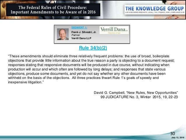 the federal rules of civil procedure  important amendments
