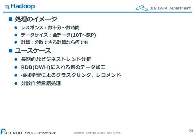 (C) Recruit Technologies Co.,Ltd. All rights reserved. BIG DATA DepartmentHadoop  処理のイメージ  レスポンス:数十分〜数時間  データサイズ:全データ(1...