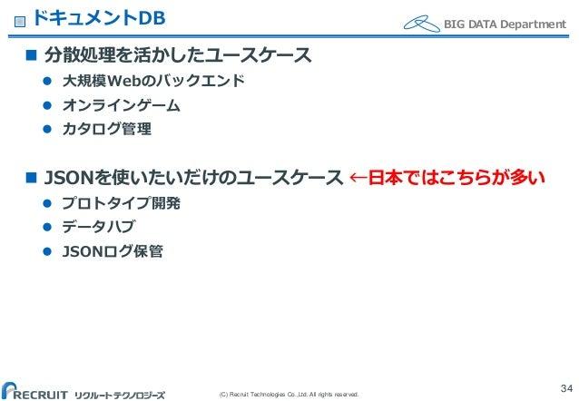 (C) Recruit Technologies Co.,Ltd. All rights reserved. BIG DATA DepartmentドキュメントDB  分散処理を活かしたユースケース  大規模Webのバックエンド  オンラ...
