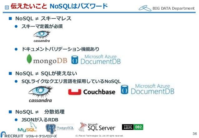 (C) Recruit Technologies Co.,Ltd. All rights reserved. BIG DATA Department伝えたいこと NoSQLはバズワード  NoSQL ≠ スキーマレス  スキーマ定義が必須 ...