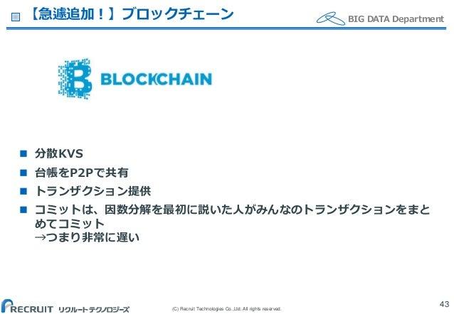 (C) Recruit Technologies Co.,Ltd. All rights reserved. BIG DATA Department【急遽追加!】ブロックチェーン  分散KVS  台帳をP2Pで共有  トランザクション提供...