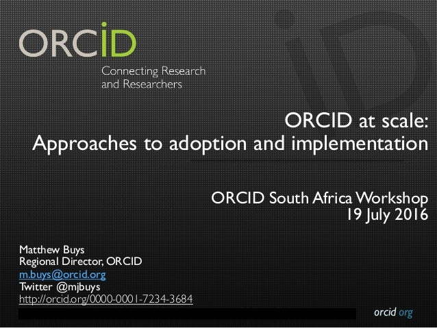 orcid.orgContact Info: p. +1-301-922-9062 a. 10411 Motor City Drive, Suite 750, Bethesda, MD 20817 USA ORCID at scale: App...