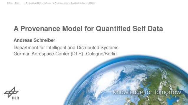 A Provenance Model for Quantified Self Data Andreas Schreiber Department for Intelligent and Distributed Systems German Ae...