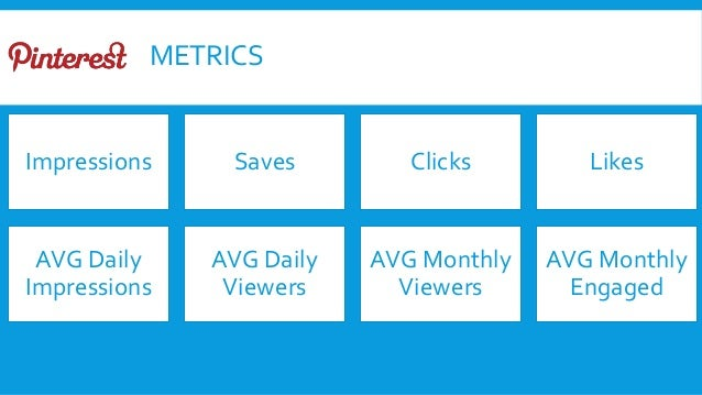 METRICS Impressions Saves Clicks Likes AVG Daily Impressions AVG Daily Viewers AVG Monthly Viewers AVG Monthly Engaged