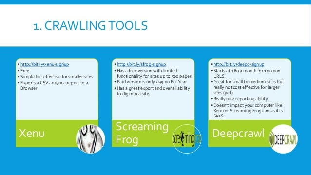 1. CRAWLINGTOOLS • http://bit.ly/xenu-signup • Free • Simple but effective for smaller sites • Exports a CSV and/or a repo...