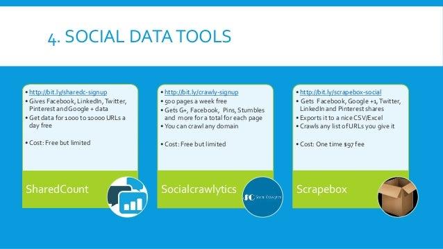 4. SOCIAL DATATOOLS • http://bit.ly/sharedc-signup • Gives Facebook, LinkedIn,Twitter, Pinterest and Google + data • Get d...
