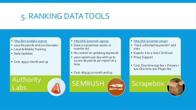 5. RANKING DATATOOLS • http://bit.ly/alabs-signup • 1000 Keywords and 100 Domains • Local & MobileTracking • Daily Updates...