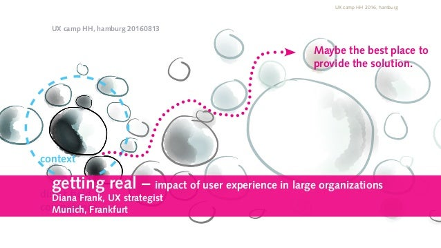 context direct field of competence Maybe the best place to provide the solution. UX camp HH 2016, hamburg Diana Frank @ffm...