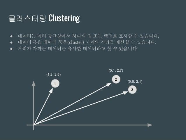 클러스터링 Clustering ● 데이터는 벡터 공간상에서 하나의 점 또는 벡터로 표시할 수 있습니다. ● 데이터 혹은 데이터 묶음(cluster) 사이의 거리를 계산할 수 있습니다. ● 거리가 가까운 데이터는 유사한 ...