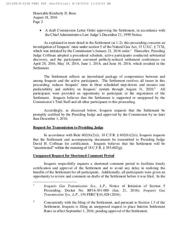 Iroquois gas transmission proposed rate settlement agreement to charg 5 platinumwayz