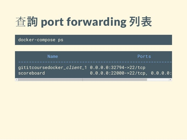 查詢 port forwarding 列表 docker-compose ps Name Ports ---------------------------------------------------------------- gititc...