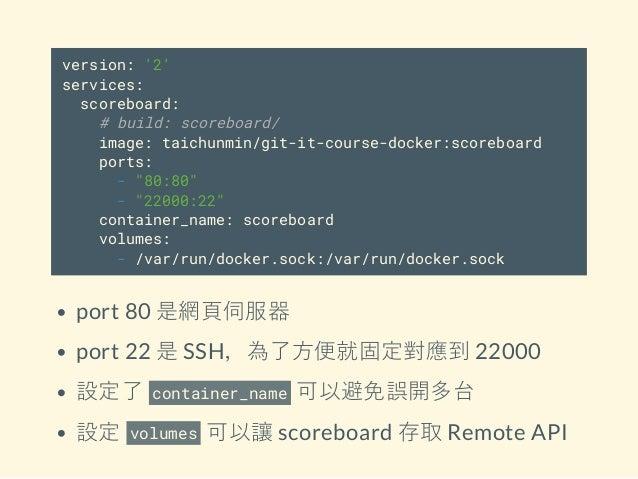 """version: '2' services: scoreboard: # build: scoreboard/ image: taichunmin/git-it-course-docker:scoreboard ports: - """"80:80""""..."""