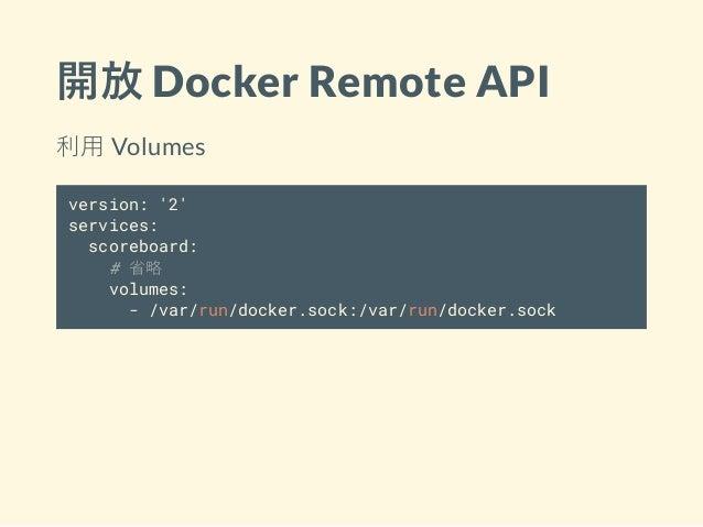 開放 Docker Remote API 利用 Volumes version: '2' services: scoreboard: # 省略 volumes: - /var/run/docker.sock:/var/run/docker.so...