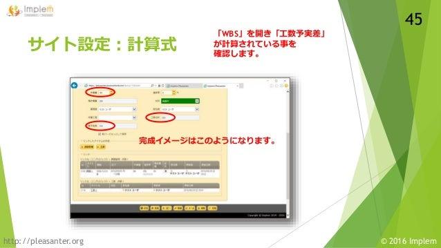 http://pleasanter.org © 2016 Implem サイト設定:計算式 「WBS」を開き「工数予実差」 が計算されている事を 確認します。 完成イメージはこのようになります。 45