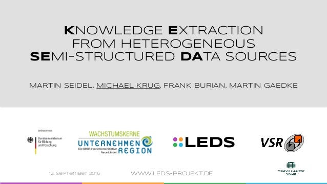 WWW.LEDS-PROJEKT.DE LEDS KNOWLEDGE EXTRACTION FROM HETEROGENEOUS SEMI-STRUCTURED DATA SOURCES MARTIN SEIDEL, MICHAEL KRUG,...