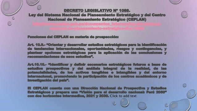 DECRETO LEGISLATIVO Nº 1088. Ley del Sistema Nacional de Planeamiento Estratégico y del Centro Nacional de Planeamiento Es...