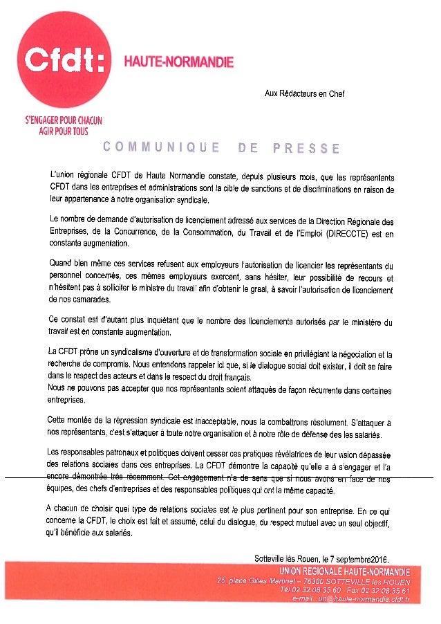 Cfdt: HAUTE-NORMANDIE Aux Rédacteurs en Chef S'ENGAGER POUR CHACUN AGIR POUR TOUS COMMUNIQUE DE PRESSE Lunion regionale CF...