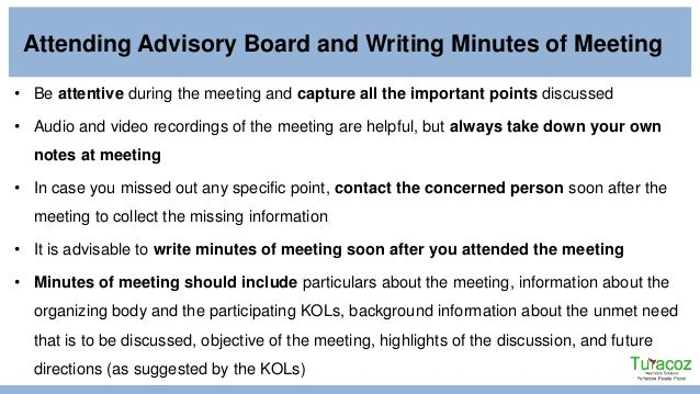 writing minutes for a board meeting