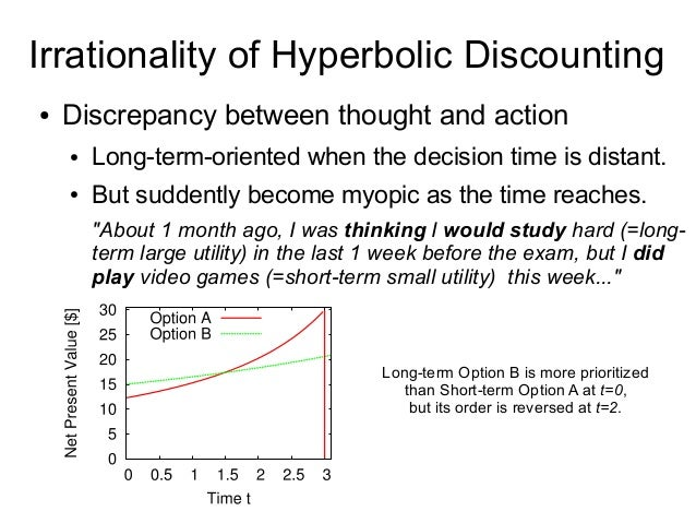 Irrationality of Hyperbolic Discounting ● Discrepancy between thought and action ● Long-term-oriented when the decision ti...