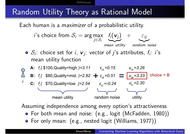 References Random Utility Theory as Rational Model Each human is a maximizer of a probabilistic utility. i's choice from S...