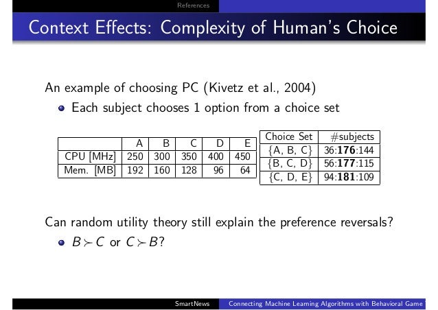 References Context Effects: Complexity of Human's Choice An example of choosing PC (Kivetz et al., 2004) Each subject choos...